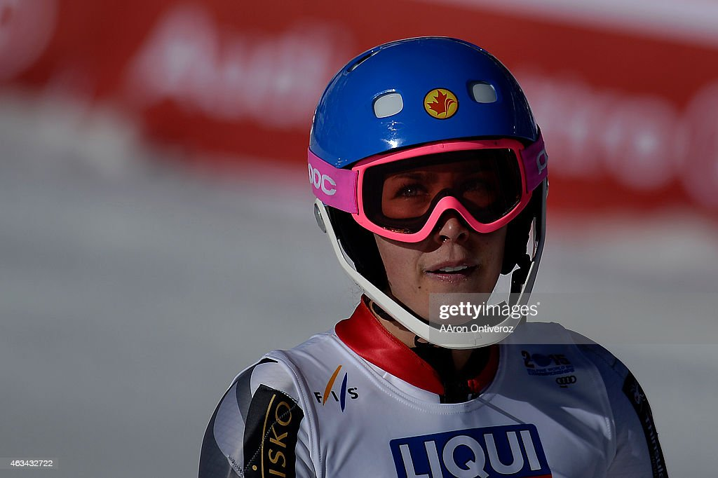 Marie-Michele Gagnon of Canada reacts to her run during the ladies' slalom. FIS Alpine World Ski Championships 2015 on Saturday, February 14, 2015.