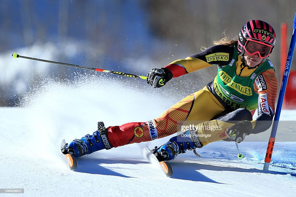 <a gi-track='captionPersonalityLinkClicked' href=/galleries/search?phrase=Marie-Michele+Gagnon&family=editorial&specificpeople=5679129 ng-click='$event.stopPropagation()'>Marie-Michele Gagnon</a> of Canada skis her first run en route to a 23rd place finish in the women's giant slalom at the Nature Valley Aspen Winternational Audi FIS Ski World Cup at Aspen Mountain on November 24, 2012 in Aspen, Colorado.