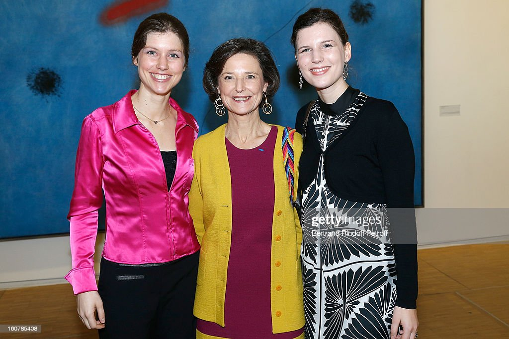 Marie-Stephane de Sercey, Director of the 'Societe Des Amis Du Musee D'Art Moderne' (Society of Friends of the Museum of Modern Art), her daughters Mirabelle (L)and Philippine attend the Society's 8th annual dinner at Centre Pompidou on February 5, 2013 in Paris, France.