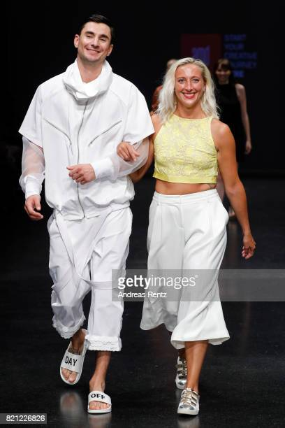 MarieTherese Thiers acknowledges the aplause of the audience at the end of the AMD Exit17_2 show during Platform Fashion July 2017 at Areal Boehler...