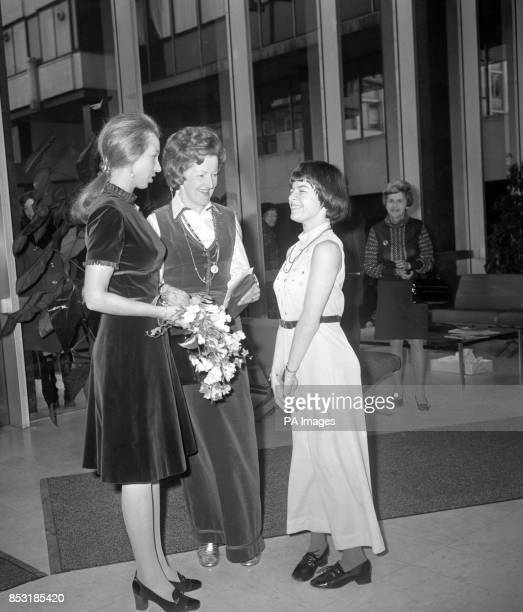 Marietta Adami who rides with the Riding For The Disabled Association chats with Princess Anne at Sudbury House Newgate Street after presenting her...