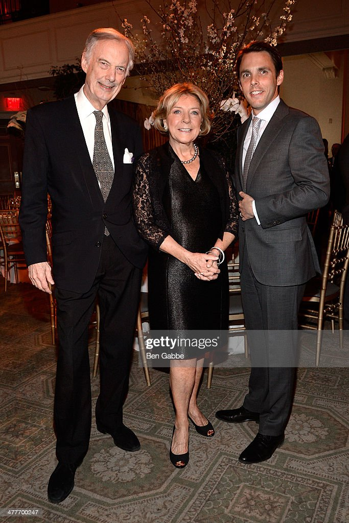 Mariette Himes Gomez, Charles Jencks and David Sprouls attend the New York School Of Interior Design 2014 Benefit Dinner at 583 Park Avenue on March 10, 2014 in New York City.