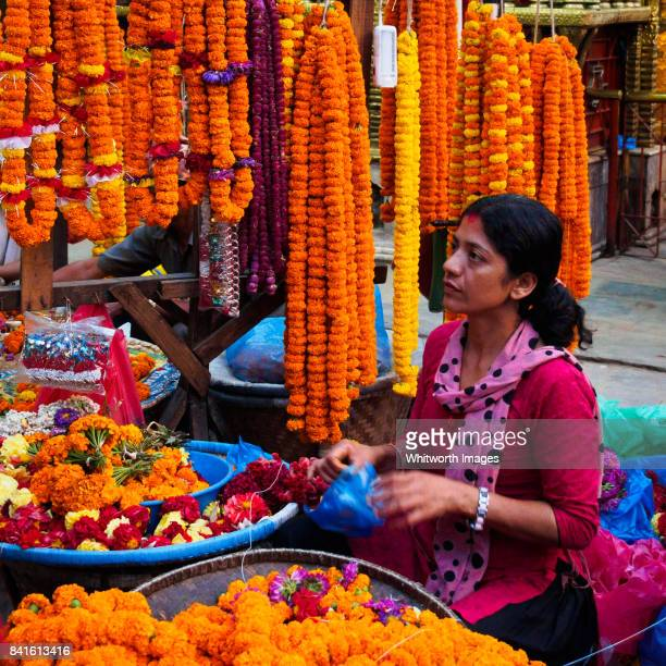 Marigolds for sale for Dashain and Tihaar in Kathmandu, Nepal