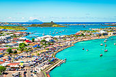 Bright and colorful landscape with harbor view of Marigot in Saint Martin, French side of the Caribbean Island.