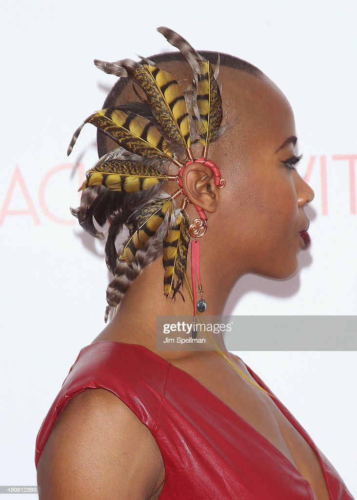 Marija Abney (hair/jewelry detail) attends the 'Black Nativity' premiere at The Apollo Theater on November 18, 2013 in New York City.
