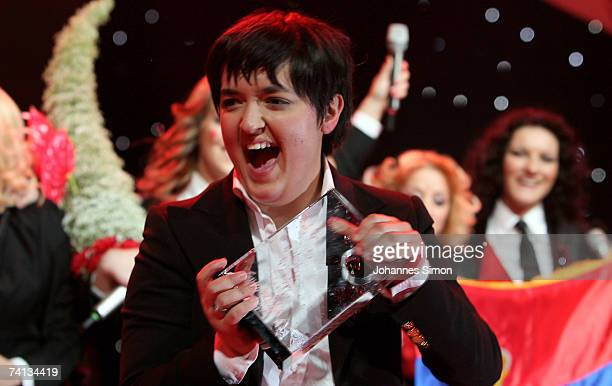 Marija Serifovic of Serbia celebrates with her group after winning the finals of the 2007 Eurovision Song Contest on May 12 in Helsinki Finland