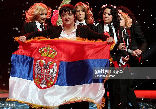 Marija Serifovic of Serbia sings with her group after winning the finals of the 2007 Eurovision Song Contest on May 12 in Helsinki Finland