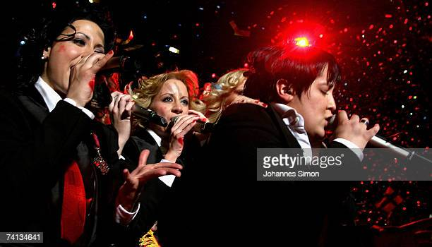 Marija Serifovic of Serbia sings with her group after winning the finals of the 2007 Eurovision Song Contest on May 12 2007 in Helsinki Finland