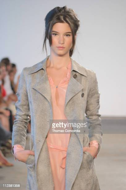 Marija Vujovic wearing Roland Mouret Spring 2005 during Olympus Fashion Week Spring 2005 Roland Mouret Runway at West 49th Street in New York City...