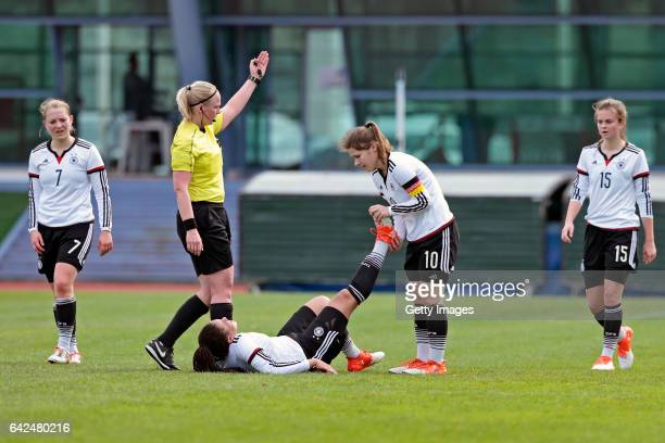Marije Deuring sees Michelle Klostermann of Germany U16 Girls injured observed by Pauline Wimmer and Pauline Berning and Sina Bühler of Germany U16...