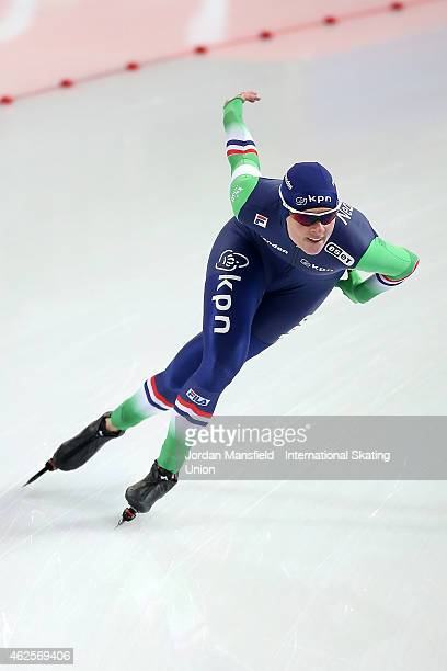 Marije Joling of the Netherlands competes in the 1500m Ladies Division A on day 1 of the ISU Speed Skating World Cup at the Hamar Olympic Hall on...
