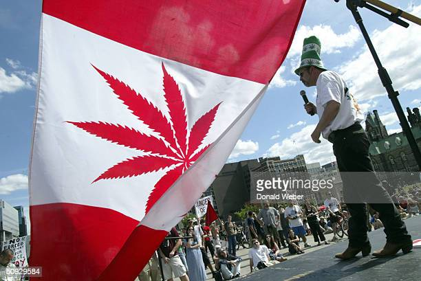 Marijuana activist Chris Lawson makes a speech on stage during a rally in support of legalizing marijuana on June 5 2004 on Parliament Hill in Ottawa...