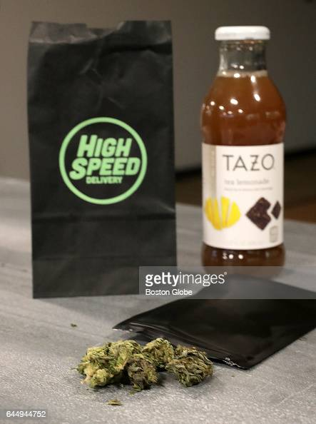 A marijuana gift is pictured with a purchased bottle of tea from High Speed Delivery as delivered to The Boston Globe in Boston on Feb 23 2017 High...