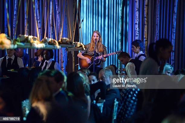 Marika Hackman performs at the Mulberry dinner to celebrate the launch of the Cara Delevingne Collection at Claridge's Hotel on February 16 2014 in...