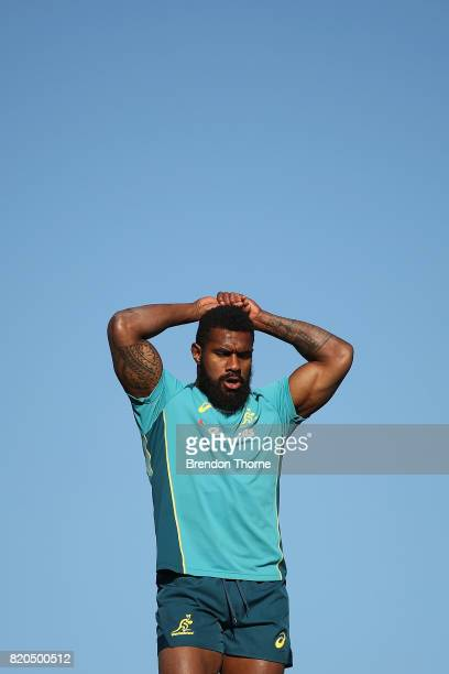 Marika Koroibete looks on during a Wallabies hills training session on July 22 2017 in Sydney Australia