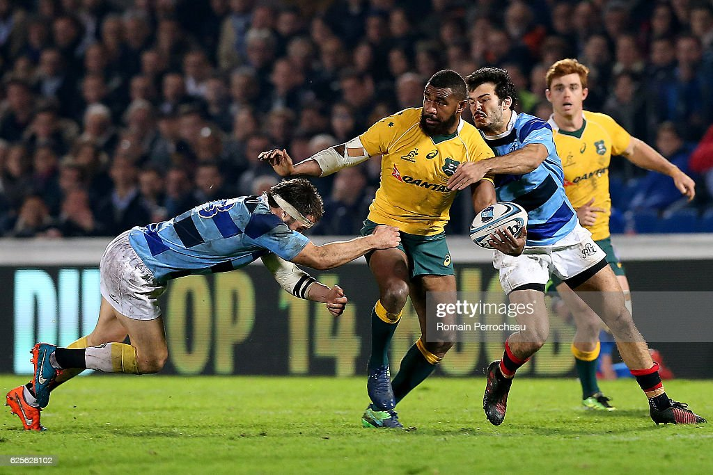 Marika Koroibete of Australia in action during the Test match between Barbarians and Australia on November 24, 2016 in Bordeaux, France.