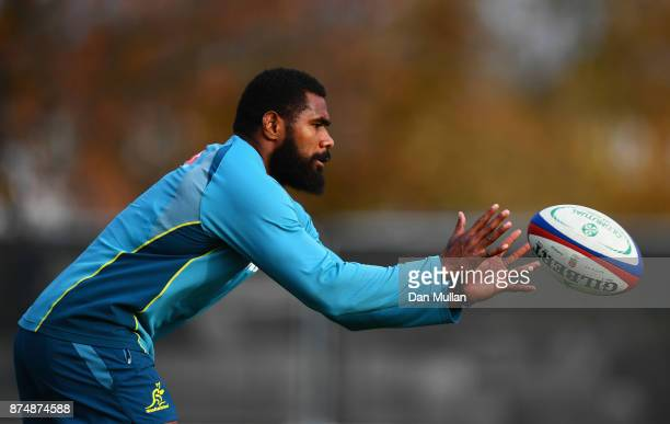 Marika Koroibete of Australia receives a pass during a training session at the Lensbury Hotel on November 16 2017 in London England Australia are due...