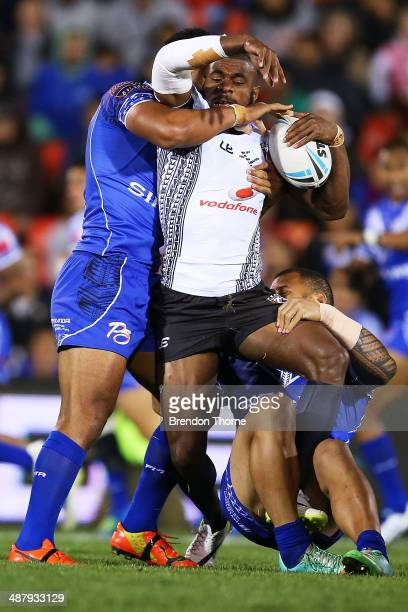 Marika Koroibete of Fiji is tackled by the Samoan defence during the International Test Match between Fiji and Samoa at Sportingbet Stadium on May 3...