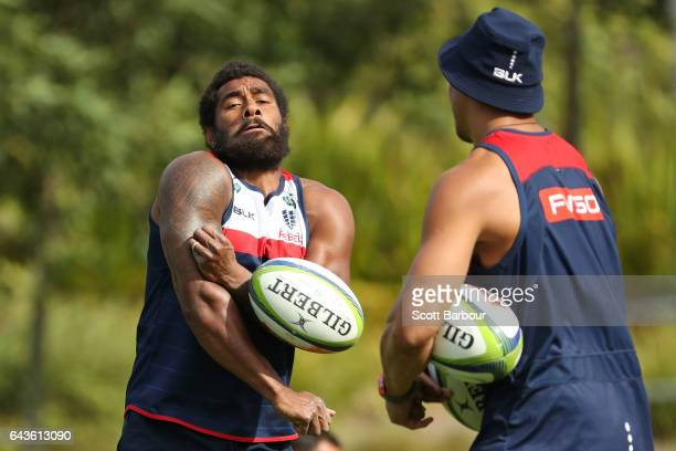 Marika Koroibete of the Rebels reacts as the ball is thrown at him during a Melbourne Rebels Super Rugby training session at Gosch's Paddock on...