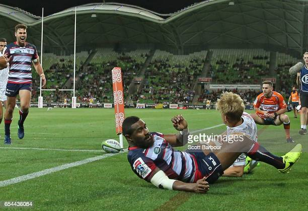 Marika Koroibete of the Rebels scores a try during the round four Super Rugby match between the Rebels and the Chiefs at AAMI Park on March 17 2017...