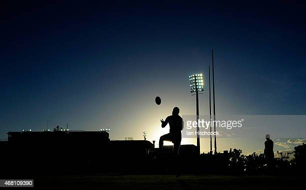 Marika Koroibete of the Storm catches a high ball during the warm up before the start of the round four NRL match between the North Queensland...