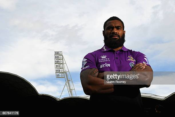 Marika Koroibete of the Storm poses during a Melbourne Storm NRL Media Opportunity at AAMI Park on September 19 2016 in Melbourne Australia