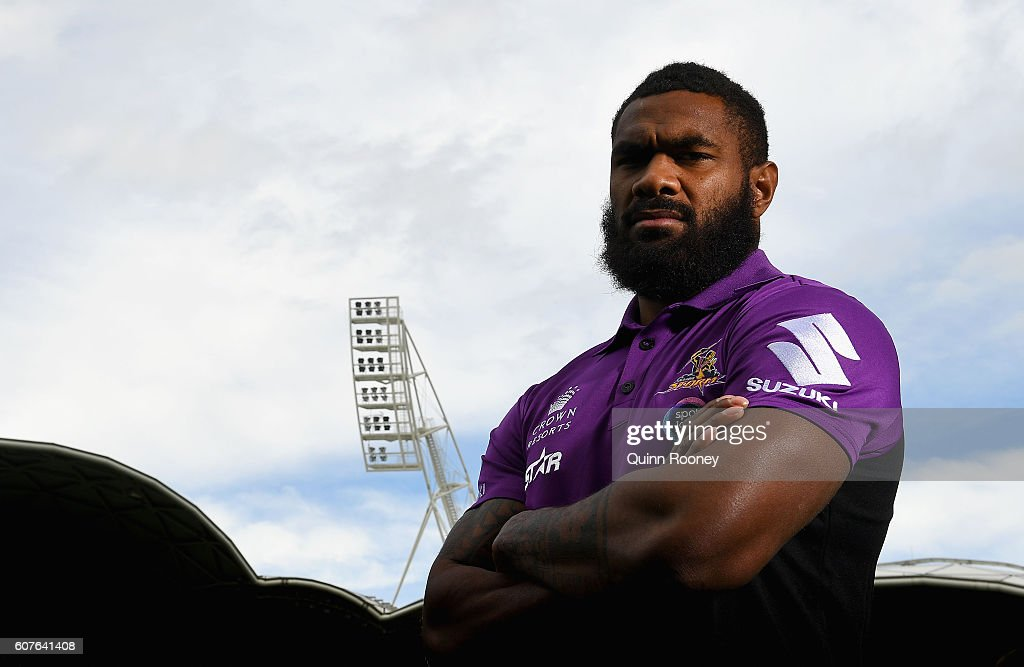 Marika Koroibete of the Storm poses during a Melbourne Storm NRL Media Opportunity at AAMI Park on September 19, 2016 in Melbourne, Australia.