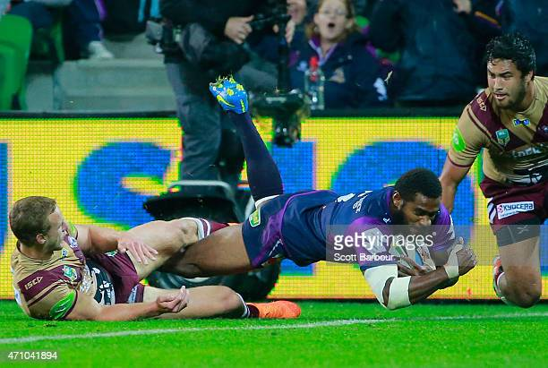 Marika Koroibete of the Storm scores a try during the round eight NRL match between the Melbourne Storm and the Manly Sea Eagles at AAMI Park on...