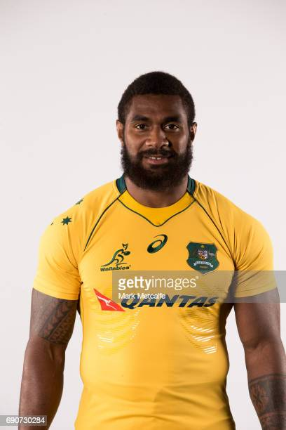 Marika Koroibete poses for a headshot during the Australian Wallabies Player Camp at the AIS on April 9 2017 in Canberra Australia