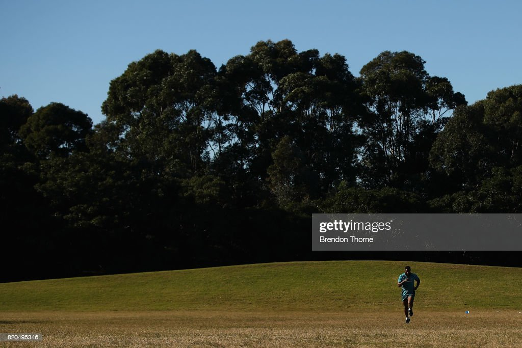 Marika Koroibete runs during a Wallabies hills training session on July 22, 2017 in Sydney, Australia.