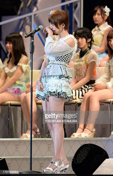 Mariko Shinoda a member of Japanese girl pop group AKB48 announces her retirement from the group after she was elected to the 5th position of the...