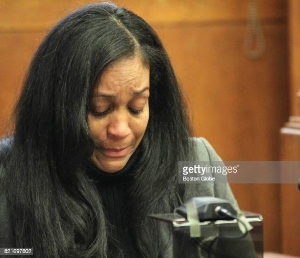 Marilin Pimentel widow of slain pizza delivery man Richel Nova reads an impact statement at Suffolk Superior Court in Boston on Sep 24 2014 Three...