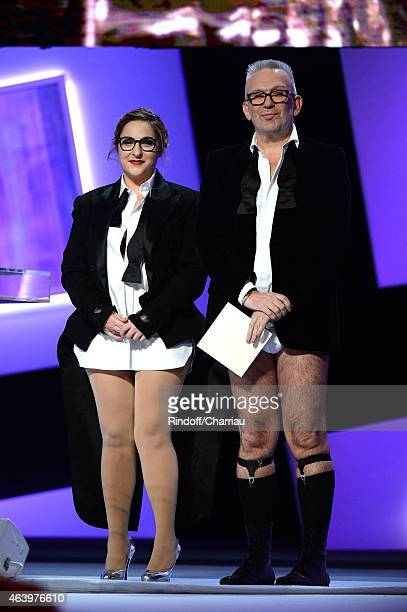 Marilou Berry and fashion designerJean Paul Gaultier attends the 40th Cesar Film Awards 2015 Ceremony at Theatre du Chatelet on February 20 2015 in...
