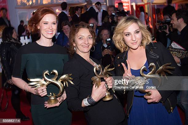 Marilou Berry Corinne Masiero and Audrey Fleurot pose with their Awards during the 27th Cabourg Romantic Film Festival in Cabourg
