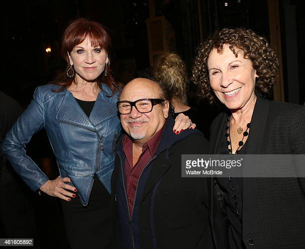Marilu Henner Danny DeVito and Rhea Pearlman backstage at the 'Taxi' cast reunion after the Broadway opening night performance of 'Honeymoon in...