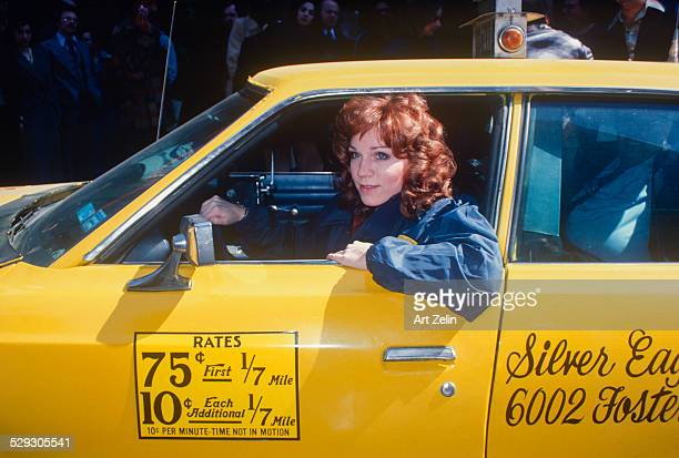 Marilu Henner in a taxi promoting the show Taxi circa 1970 New York