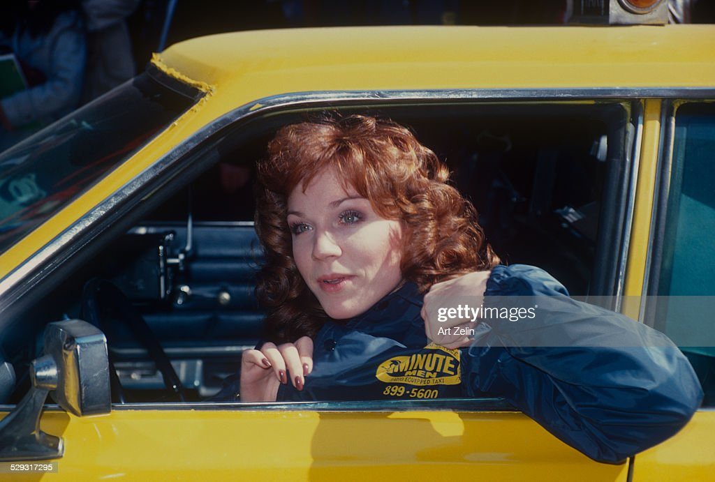 Marilu Henner in a taxi promoting the show Taxi' circa 1970 New York