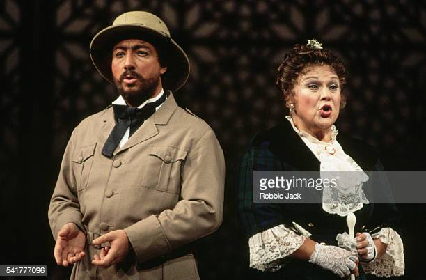 Marilyn Horne and Alessandro Corbelli perform during a Royal Opera production of Rossini's L'Italiana in Algeri September 1993
