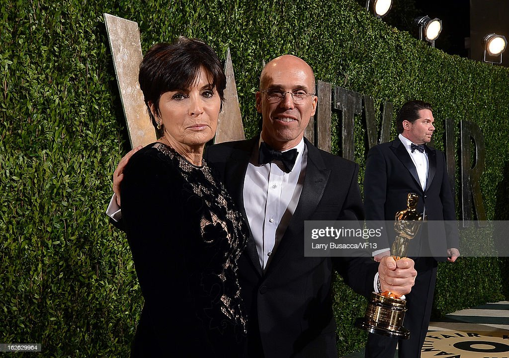 Marilyn Katzenberg and <a gi-track='captionPersonalityLinkClicked' href=/galleries/search?phrase=Jeffrey+Katzenberg&family=editorial&specificpeople=171496 ng-click='$event.stopPropagation()'>Jeffrey Katzenberg</a> arrive for the 2013 Vanity Fair Oscar Party hosted by Graydon Carter at Sunset Tower on February 24, 2013 in West Hollywood, California.