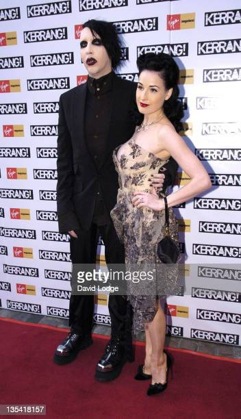 Marilyn Manson and Dita Von Teese during 2005 Kerrang Awards at The Brewrey in London Great Britain