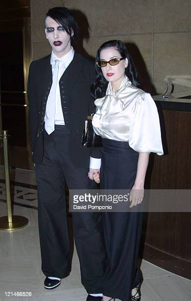 Marilyn Manson and Dita Von Teese during Marilyn Manson and Franz Ferdinand Visit Fuse's 'Daily Download' September 10 2004 at Fuse Studios in New...