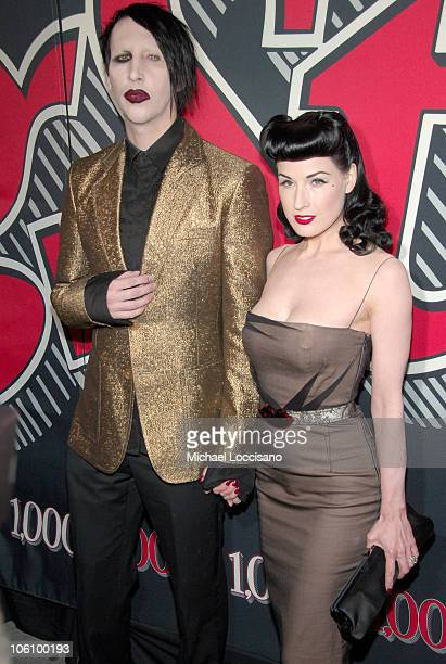 Marilyn Manson and Dita Von Teese during Rolling Stone Magazine Celebrates 1000th Cover at Hammerstein Ballroom in New York City New York United...