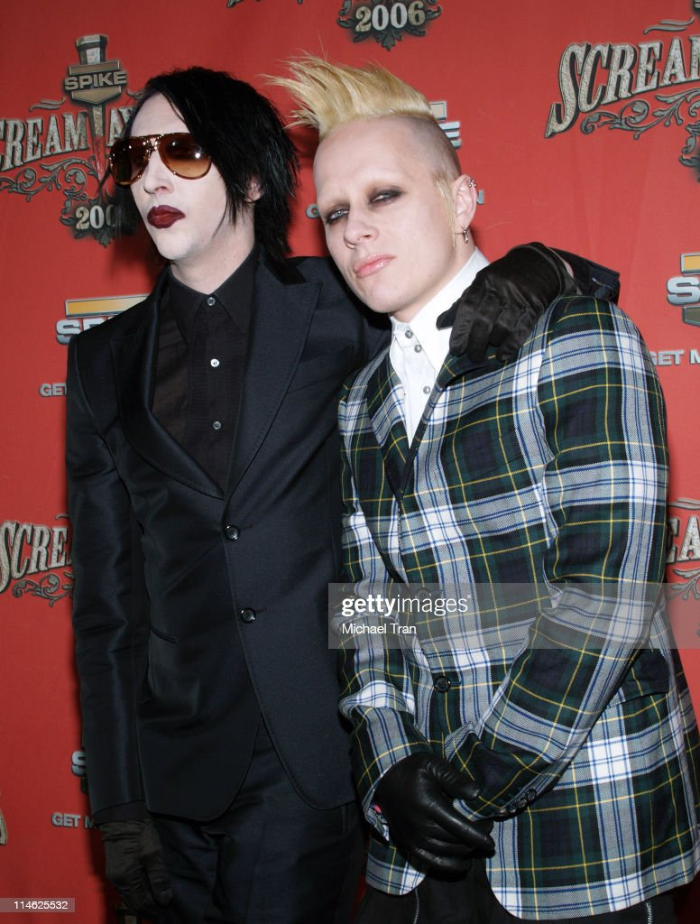 Marilyn Manson and Tim Skold during Spike TV's 'Scream Awards 2006' Press Room at Pantages Theater in Hollywood California United States