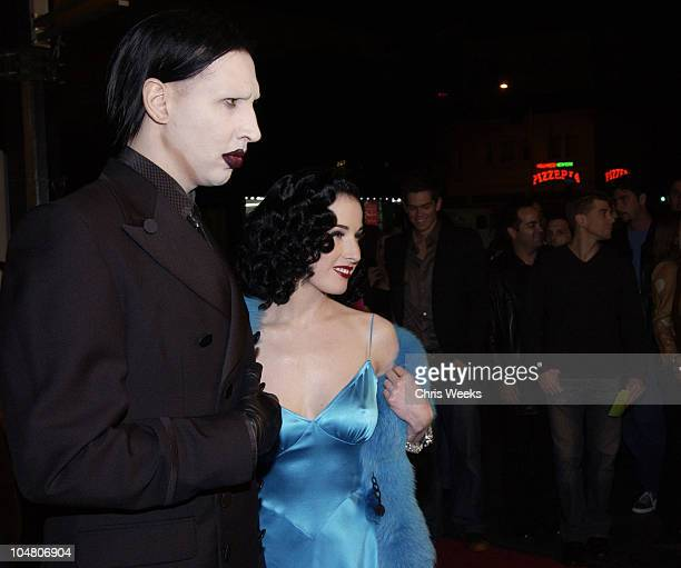 Marilyn Manson Dita Ton Teese during Premierei of The Rules of Attraction Hosted by Flaunt Magazine at The Egyptian Theatre in Hollywood CA United...
