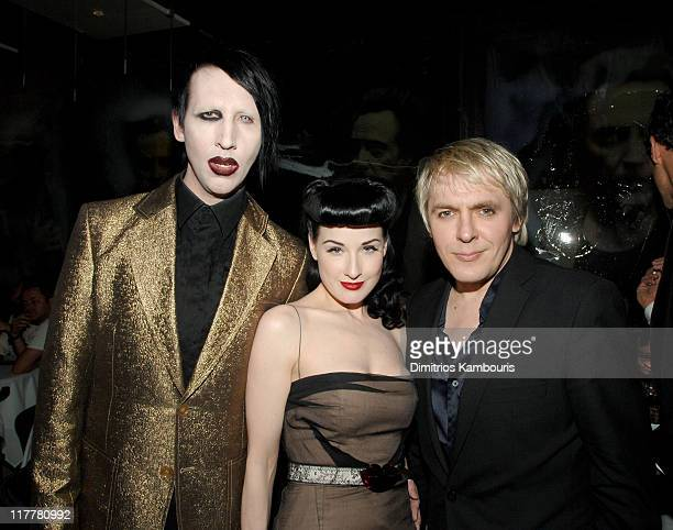 Marilyn Manson Dita von Teese and Nick Rhodes during Opening of MR CHOW Tribeca at Mr Chow in New York City New York United States