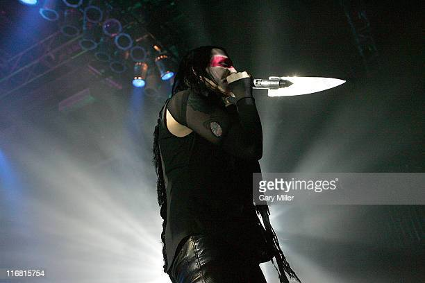 Marilyn Manson performs at the Austin Music Hall on March 1 2008 in Austin Texas