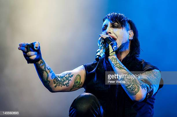 Marilyn Manson performs on stage during the first day of Rock Am Ring on June 2 2012 in Nuerburg Germany