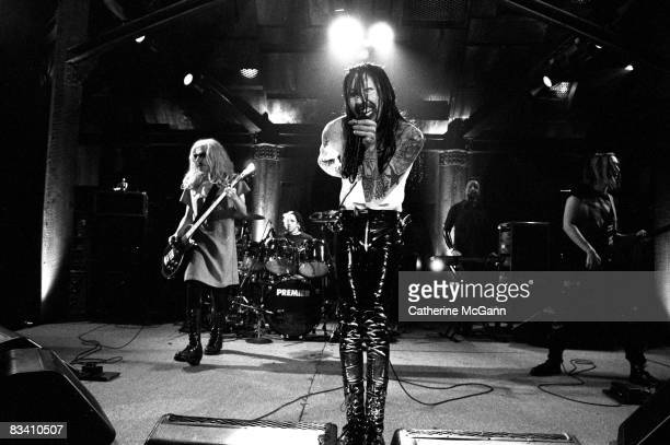 Marilyn Manson performs on the last episode of the 'Jon Stewart Show' in June 1995 in New York City New York The band were the musical guests on the...