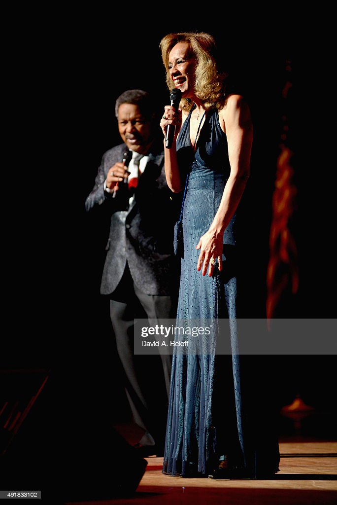 Marilyn McCoo & Billy Davis, Jr. live in concert with the Virginia Symphony Orchestra during Up, Up And Away, The Music And Memories Featuring Marilyn McCoo And Billy Davis, Jr. with The Virginia Symphony Orchestra at Chrysler Hall on October 3, 2015 in Norfolk, Virginia.