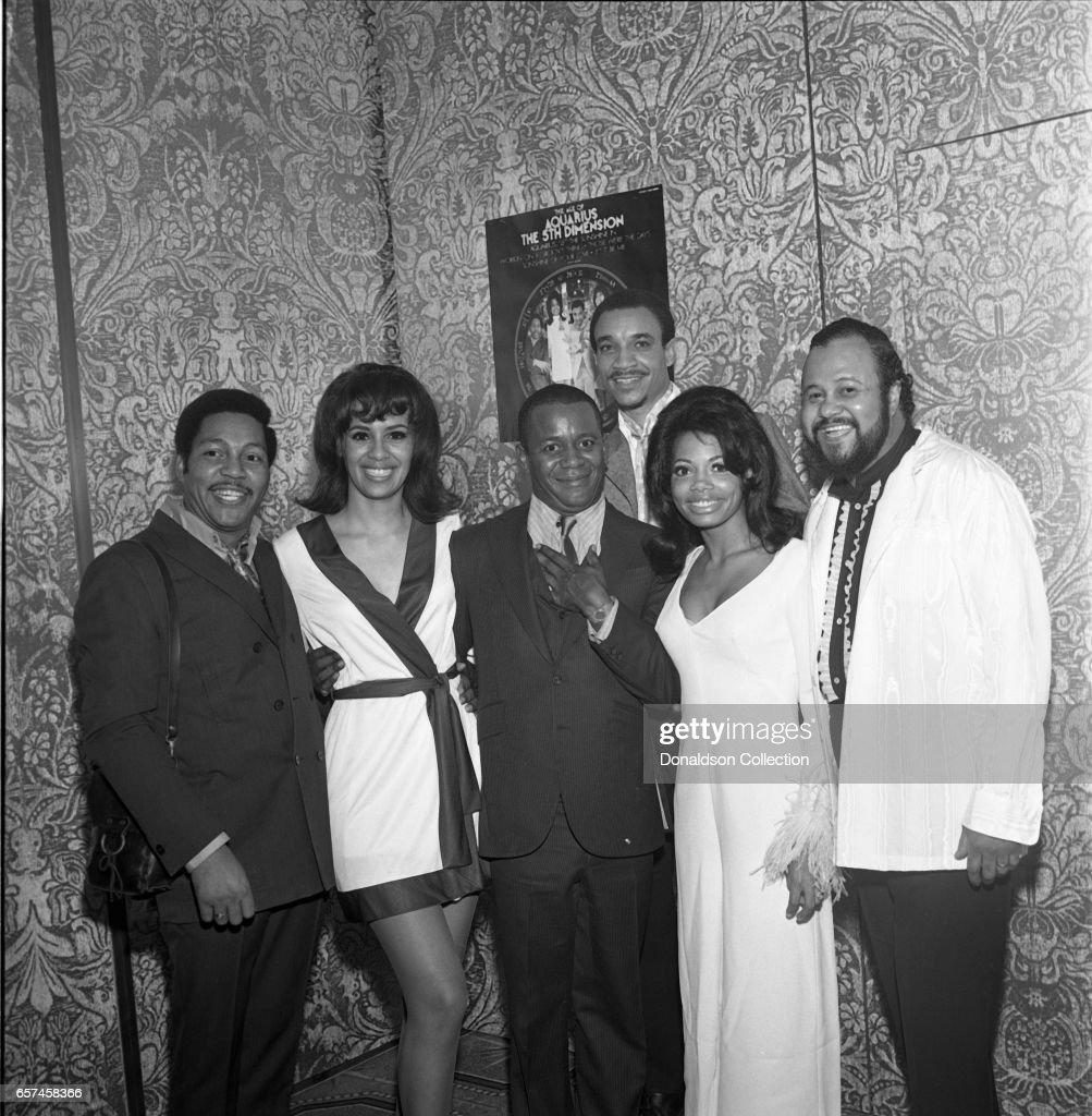 Marilyn McCoo, Florence LaRue, Billy Davis, Jr., LaMonte McLemore, and Ron Townson of the vocal group '5th Dimension' visit Bell Records and WNEW with Flip Wilson on October 22, 1970 in New York, New York.